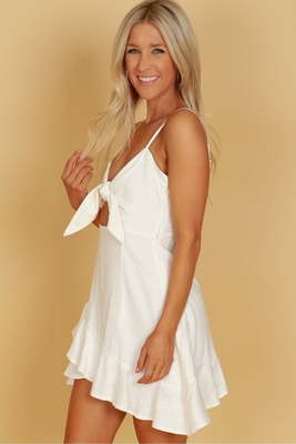 Womens Clothes 2018 Adjustable Shoulder Straps White Front Tie Linen Ruffle Dress